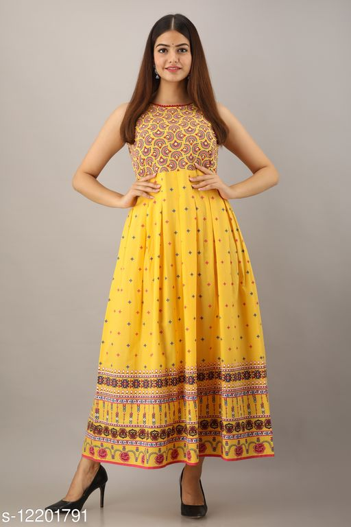 Women's Long Cotton Yellow Printed Gown