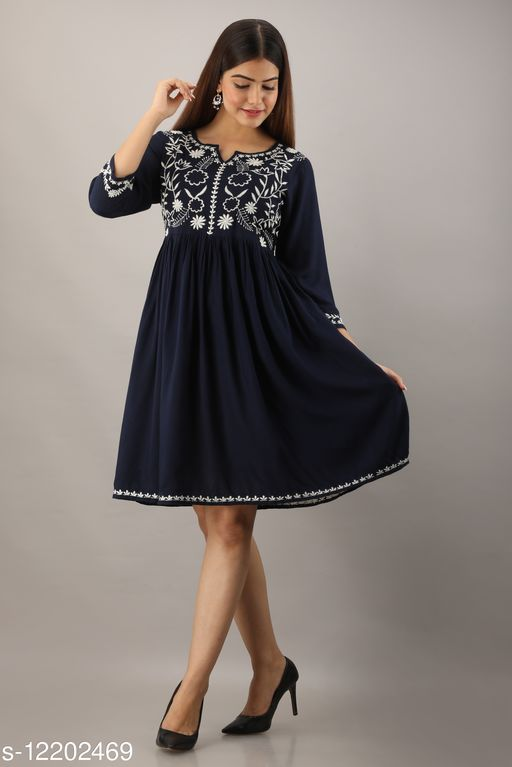 Rayon Navy Embroidered Knee Length Dress