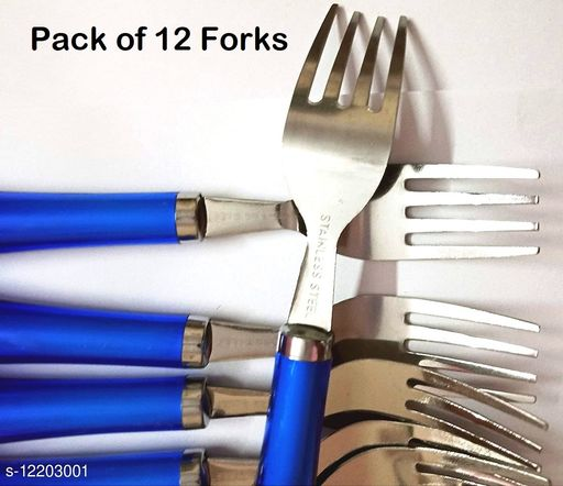 Stainless Steel Stylish Dinner Forks with Platic Handle 12 Pieces Set, Multicolour