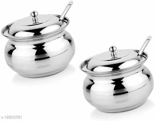 Stainless Steel Ghee Pot, Oil Container with Lid and Spoon (250 ml) Set of 2