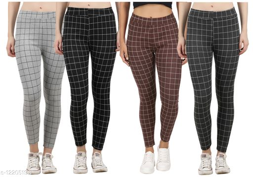 Eazy Trendz?™ Womens Checkered Pattern Ankle Length Tights Multicolour Combo (Pack of 4) Free Size (Best fit to the Hip Size 28 inch to 36 inch)