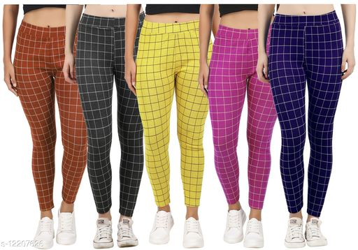 Eazy Trendz?™ Womens Checkered Pattern Ankle Length Tights Multicolour Combo (Pack of 5) Free Size (Best Fit to the Hip Size 28 inch to 34 inch)
