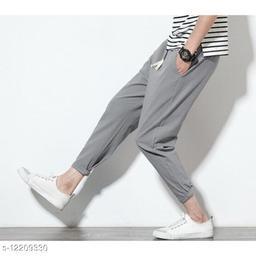 FNF Grey Solid Ankle Length Slim Fit Men's Track Pant