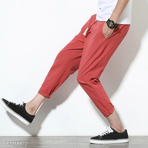 FNF Maroon Solid Ankle Length Slim Fit Men's Track Pant