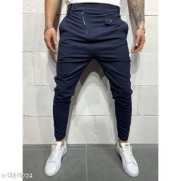FNF Silver Solid Ankle Length Slim Fit Men's Track Pant