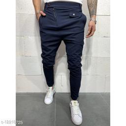 FNF Blue Solid Ankle Length Slim Fit Men's Track Pant