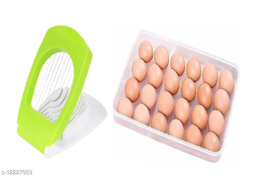 OM ENTERPRISE 24 Grids Plastic Egg Box Container Holder Tray for Fridge with Egg Cutter