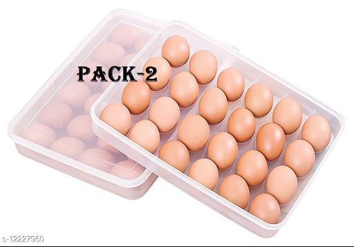 OM ENTERPRISE 24 Grids Plastic Egg Box Container Holder Tray for Fridge with Lid for 2 Dozen 24 Eggs (Pack of 2)