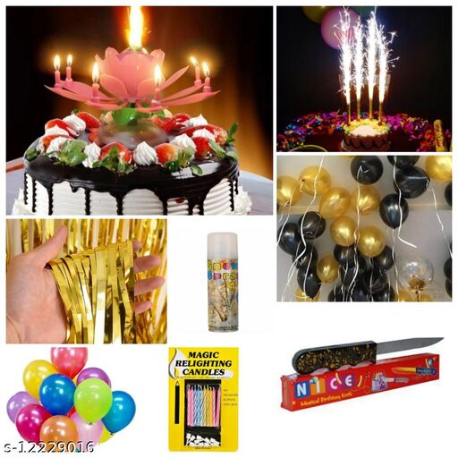 Golden curtain pack of 1, Multi Color Balloon Pack Of 30 Pcs, Black And Golden Color Balloons Pack Of 10, 4 Pcs Sparkles Candles, Magic Candle,1pc Lotus Candle,1pc Snow Spray, And 1 Free Gift