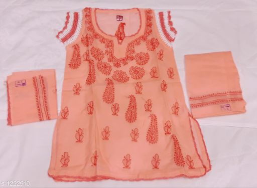 Salwar Suit Sets Flawless Cotton Girl's Salwar Suit Set  *Fabric*   *Kurtha * Cotton , Salwar  *Sleeves* Short Sleeves Are Included  *Size*  Age Group (0 - 1 Year) - 16 in Age Group (2 - 3 Years) - 18 in Age Group (3 - 4 Years) - 20 in Age Group (4 - 5 Years) - 22 in Age Group (5 - 6 Years) - 24 in Age Group (6 - 7 Years) - 26 in  *Type* Stitched  *Description* It Has 1 Piece Of Kurtha, 1 Piece Of Salwar & 1 Piece Of Dupatta  *Work * Chikankari Embroidery  *Sizes Available* 2-3 Years, 3-4 Years, 4-5 Years, 5-6 Years, 6-7 Years, 0-1 Years, 1-2 Years *   Catalog Rating: ★4.2 (23)  Catalog Name: Tinkle Flawless Cotton Girl's Salwar Suit Sets Vol 3 CatalogID_154029 C61-SC1138 Code: 224-1222910-