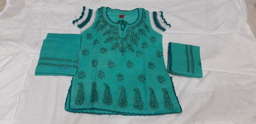 Salwar Suit Sets Flawless Cotton Girl's Salwar Suit Set  *Fabric*   *Kurtha * Cotton , Salwar  *Sleeves* Short Sleeves Are Included  *Size*  Age Group (0 - 1 Year) - 16 in Age Group (2 - 3 Years) - 18 in Age Group (3 - 4 Years) - 20 in Age Group (4 - 5 Years) - 22 in Age Group (5 - 6 Years) - 24 in Age Group (6 - 7 Years) - 26 in  *Type* Stitched  *Description* It Has 1 Piece Of Kurtha, 1 Piece Of Salwar & 1 Piece Of Dupatta  *Work * Chikankari Embroidery  *Sizes Available* 2-3 Years, 3-4 Years, 4-5 Years, 5-6 Years, 6-7 Years, 7-8 Years, 0-1 Years, 1-2 Years *   Catalog Rating: ★4.2 (23)  Catalog Name: Tinkle Flawless Cotton Girl's Salwar Suit Sets Vol 3 CatalogID_154029 C61-SC1138 Code: 224-1222917-