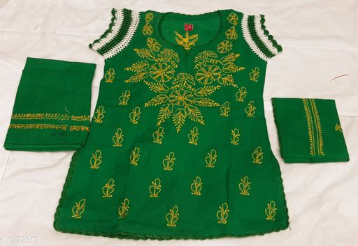 Salwar Suit Sets Flawless Cotton Girl's Salwar Suit Set  *Fabric*   *Kurtha * Cotton , Salwar  *Sleeves* Short Sleeves Are Included  *Size*  Age Group (0 - 1 Year) - 16 in Age Group (2 - 3 Years) - 18 in Age Group (3 - 4 Years) - 20 in Age Group (4 - 5 Years) - 22 in Age Group (5 - 6 Years) - 24 in Age Group (6 - 7 Years) - 26 in  *Type* Stitched  *Description* It Has 1 Piece Of Kurtha, 1 Piece Of Salwar & 1 Piece Of Dupatta  *Work * Chikankari Embroidery  *Sizes Available* 2-3 Years, 3-4 Years, 4-5 Years, 5-6 Years, 6-7 Years, 0-1 Years, 1-2 Years *   Catalog Rating: ★4.2 (23)  Catalog Name: Tinkle Flawless Cotton Girl's Salwar Suit Sets Vol 3 CatalogID_154029 C61-SC1138 Code: 224-1222919-