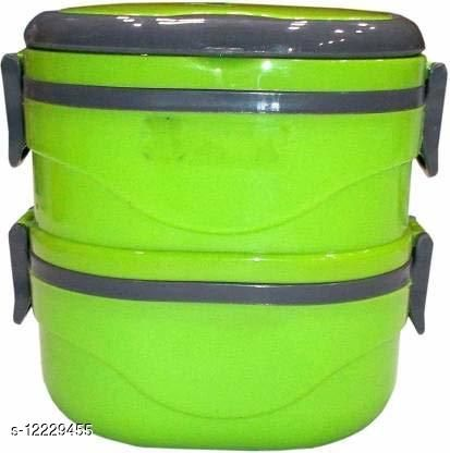 2 Container Insulated Stainless Steel Lunch Box (Multicolor)