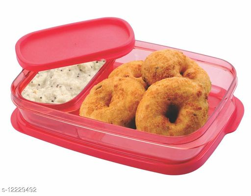 Plastic Unbreakable Transparent Lunch Box 2 Containers
