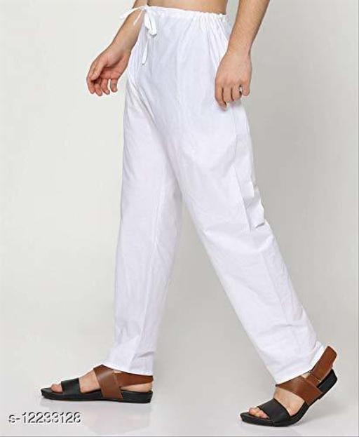 PK HUB Mens White Pyjama, 100% cotton, Size: FreeSize