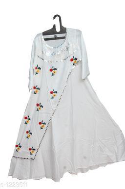 Women's Embroidered White Rayon Kurti
