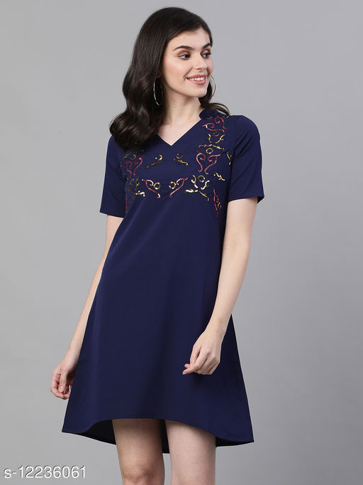 Ishin Women's Poly Crepe Blue Embellished A-Line Dress