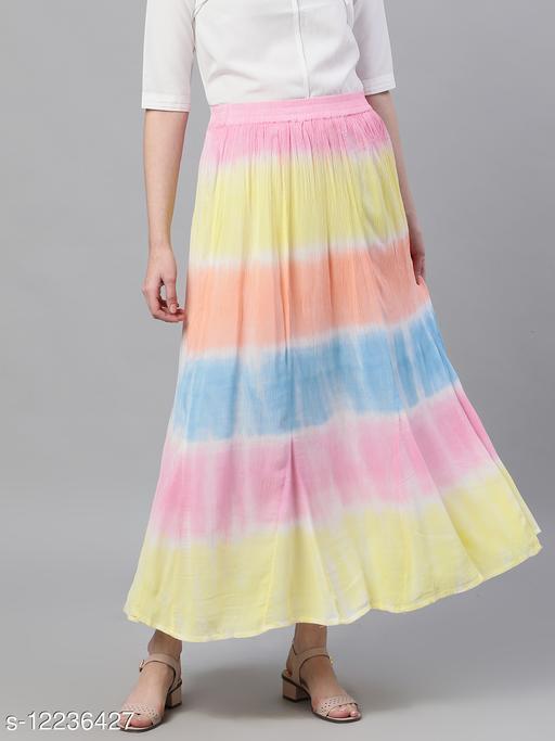 Ishin Women's Cotton Multicolor Tie & Dye Maxi Flared Skirt