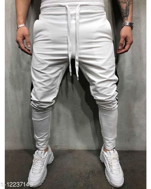 FNF White Solid Ankle Length Slim Fit Men's Track Pant