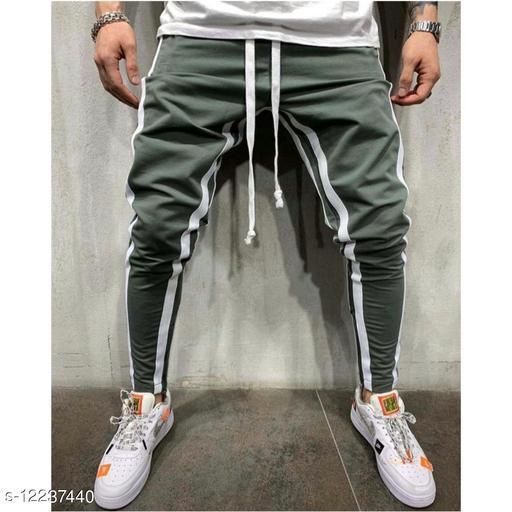 FNF Olive Solid Ankle Length Slim Fit Men's Track Pant