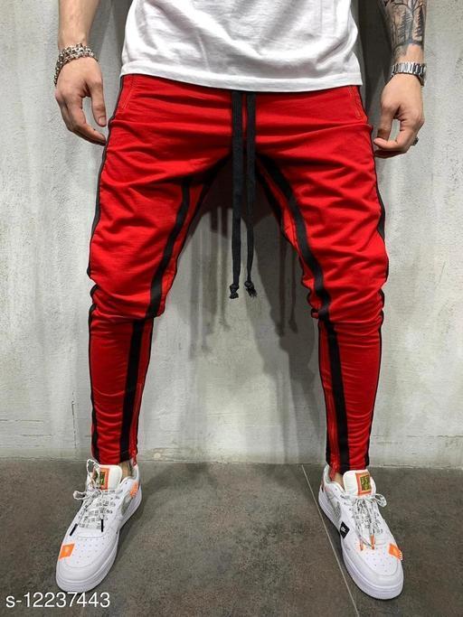 FNF Red Solid Ankle Length Slim Fit Men's Track Pant