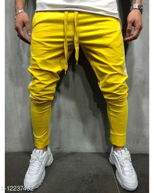 FNF Yellow Solid Ankle Length Slim Fit Men's Track Pant