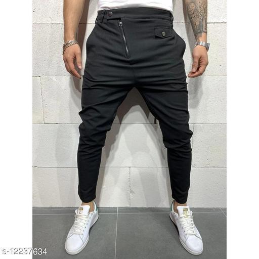 FNF Black Solid Ankle Length Slim Fit Men's Track Pant
