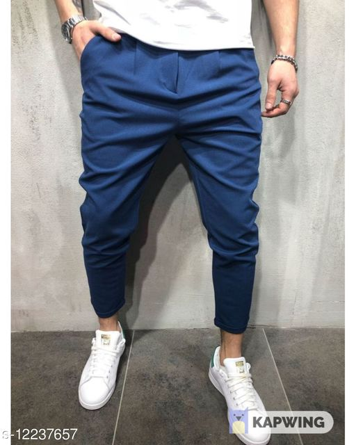 FNF Royal BlueSolid Ankle Length Slim Fit Men's Track Pant
