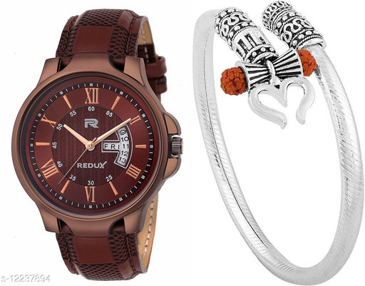 Trendy new design Analog  watch for Boy And Shiv design trishul mens kada(Bracelet) absoulty Free