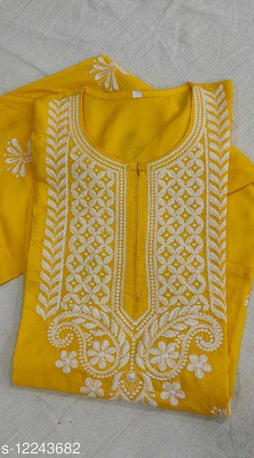 Women Rayon Embroidered Yellow Kurti