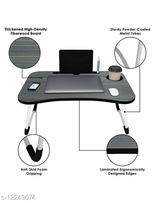TDW Multi-Purpose Laptop Desk for Study and Reading with Foldable Non-Slip Legs Reading Table Tray (Black)