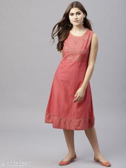 Peach Gold Printed Sleevless A-Line Dress