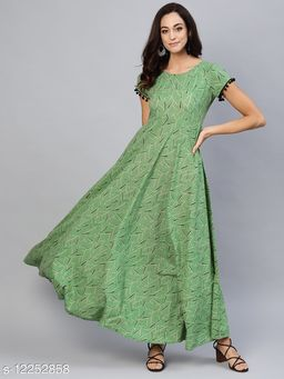 Green Printed Maxi With Contrast Detail