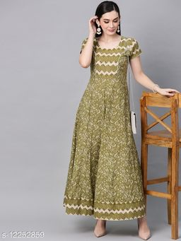 Green & Cream Floral Printed Flared Maxi
