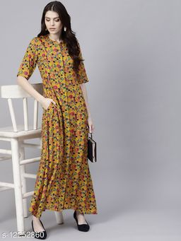 Mustard Floral Printed Button Down Maxi