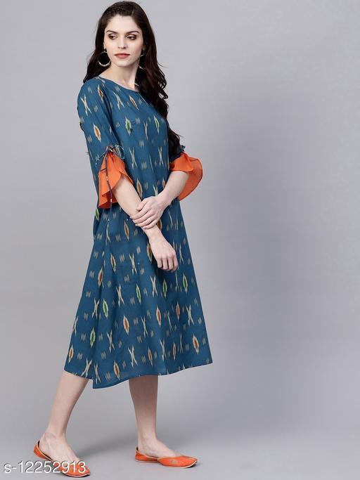 Blue Ikat Print A-Line Dress With Ruffle Sleeve