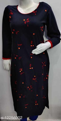Women's Black Embroidered Wool Kurti