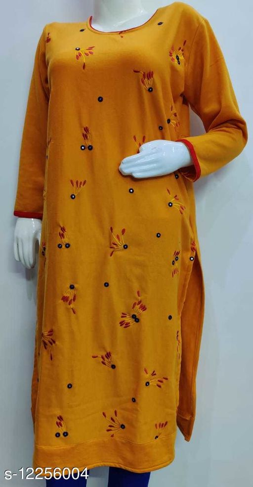 Women Wool Straight Embroidered Mustard Kurti