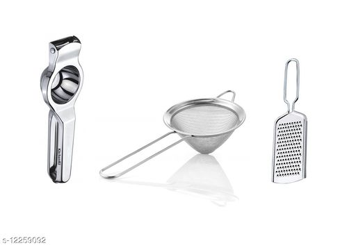 Kitchen4U - High Quality Stainless Steel Lemon squeezer, Grater & Wire Strainer (Set of 3, Color may vary)