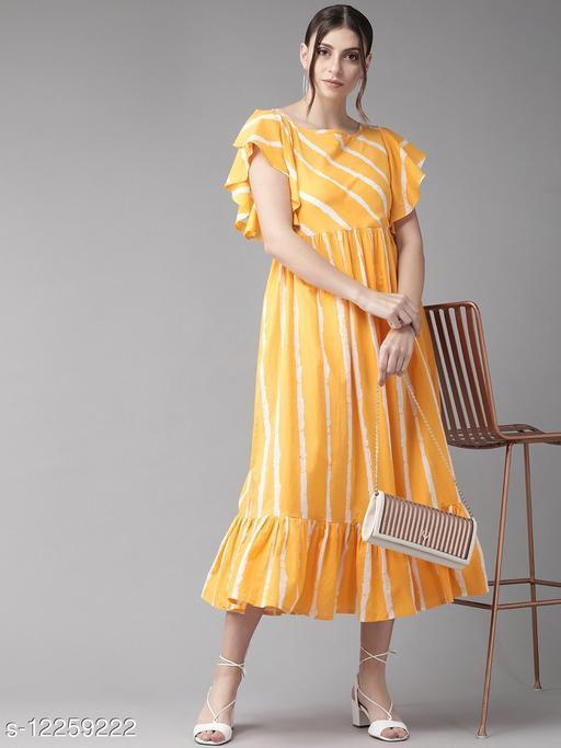 Mustard Yellow & White Striped A-Line Dress
