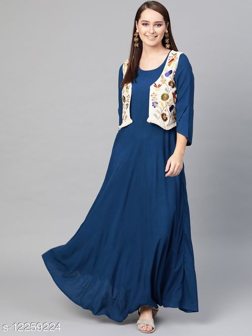 Royal blue maxi with embroiderd jacket