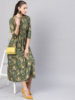 Green Printed Gathered Dress With Contrast Detailing