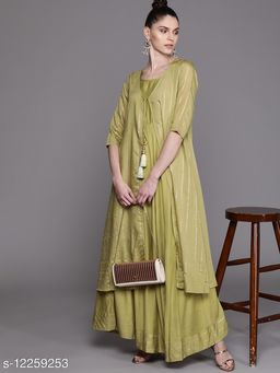 Olive Green & Golden Striped Layered Maxi Dress