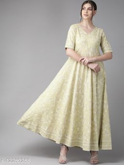 Beige & White Khari Print Bias Cut Maxi Dress