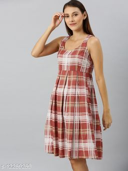 Rust Red & White Checked Pleated Fit and Flare Dress