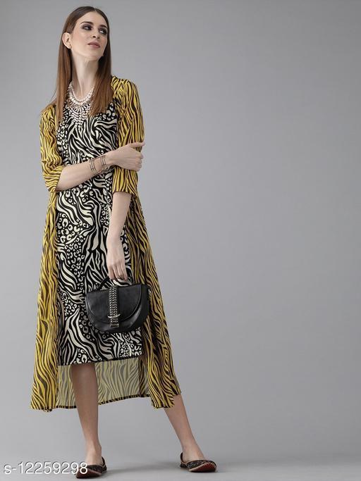 Black & Off-White Printed A-Line Dress with Longline Shrug