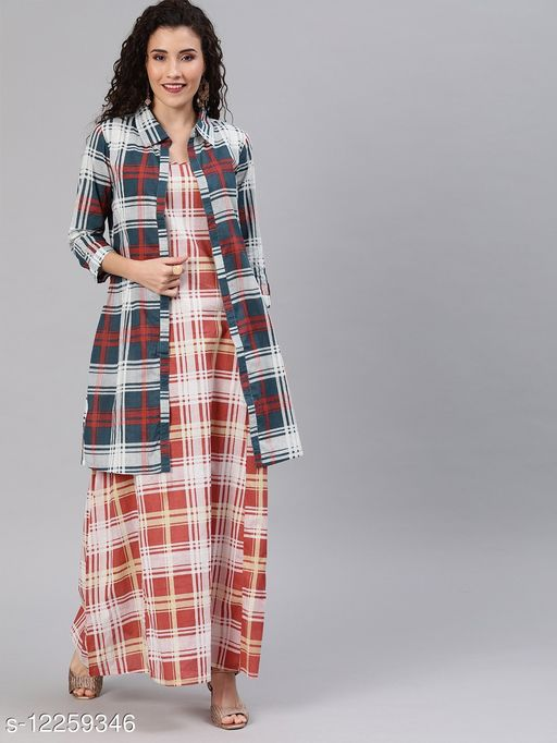 Rust Red & White Checked Layered Maxi Dress