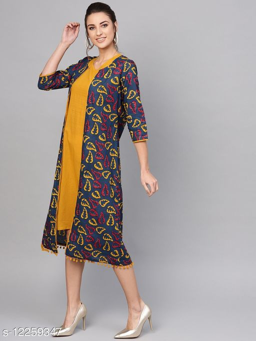 Indigo & Mustard Double Layered Dress