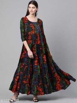 Black & Orange Animal Printed Tiered Maxi Dress
