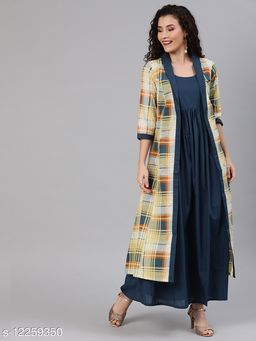 Women Teal Blue & Yellow Solid Layered Maxi Dress with Gathers